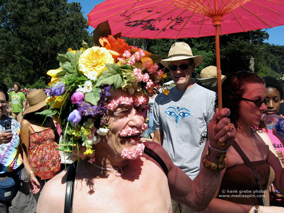 Old Flowr Child at Summer of Love 40th Anniversary Festival in Golden Gate Park