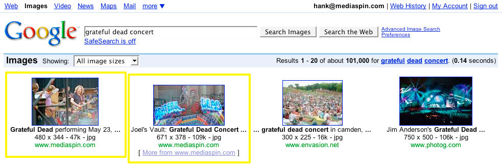 Google search for grateful dead concert