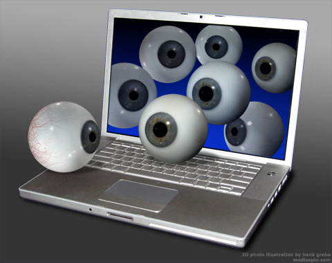 Eyeballs Emerge from Laptop Screen