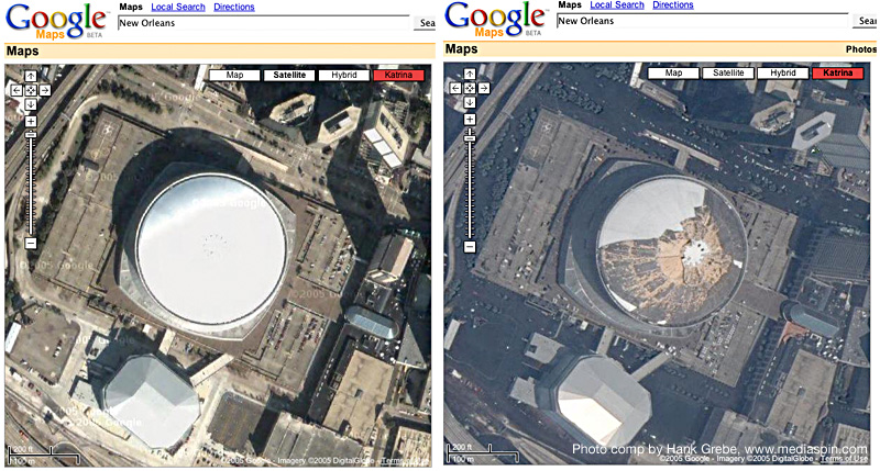 Google Maps Satellite View of New Orleans Superdome Before Hurricane Katrina and After