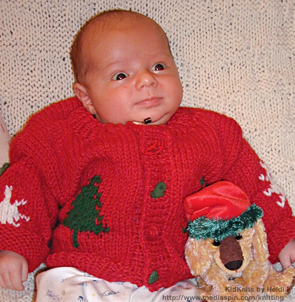 Red Baby Sweater with Green Christmas Tree